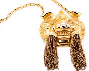 Vintage Judith Leiber Foo Dog Statement Pendant Necklace/Brooch