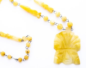 Vintage Yellow Agate Aztec Tribal Beaded Necklace