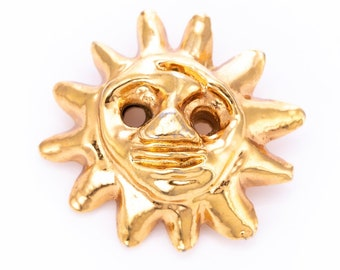 Vintage Christian Lacroix Gold Plated Resin Sun Brooch