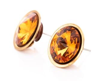Vintage Wendy Gell Topaz Rivoli Rhinestone Statement Stud Earrings