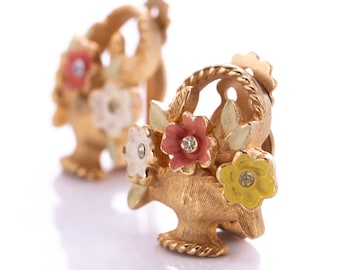 Vintage Kramer Rhinestone and Enamel Flower Basket Clip Earrings