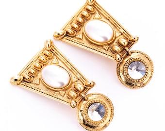 Vintage Marie Victoire Kamer Paris Etruscan Revival Statement Clip Earrings