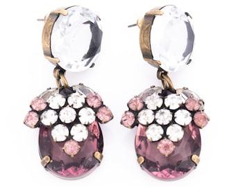 Vintage Jennifer Maxwell Amethyst Crystal Rhinestone Clip Statement Earrings