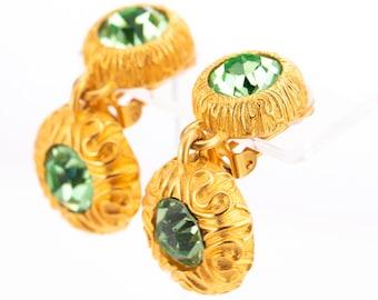 Vintage Mish Tworkowski Gold Plated Peridot Rhinestone Statement Clip Earrings