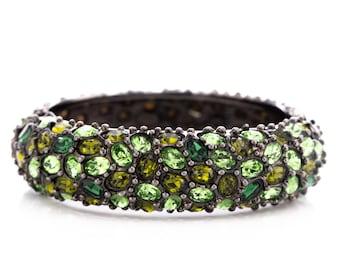 Vintage Kenneth Jay Lane Emerald Rhinestone Hinged Bangle Bracelet