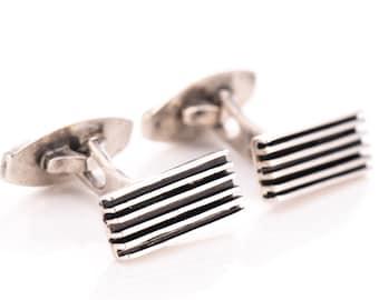 RARE Vintage Hans Hansen Sterling Silver Modernist Cufflinks #629 Designed by Karl Gustave Hansen