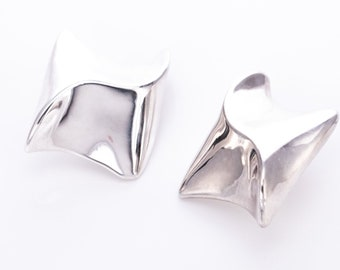 Vintage David Varsano Modernist Sterling Silver Massive Statement Clip Earrings
