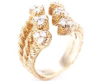 Vintage Judith Ripka Gold Vermeil Sterling Silver Hearts Ring