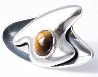 Vintage Sigi Pineda Sterling Silver and Tiger's Eye Modernist Brooch