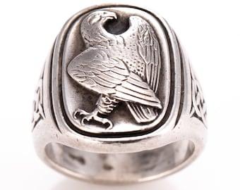 Vintage Georg Jensen Sterling Silver Celtic Eagle Statement Ring Size 7 3/4