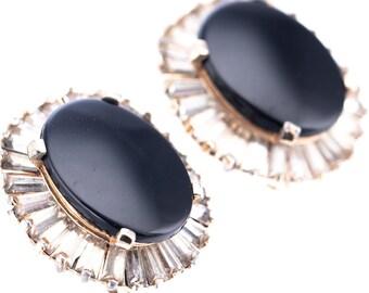 Vintage Panetta Black Onyx and Crystal Baguette Clip Earrings