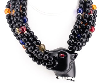 Vintage Angela Caputi Black Onyx and Multicolored Lucite Beaded Panther Head Multi Strand Statement Necklace
