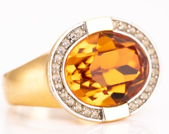 Vintage Early Joan Rivers Gold Plated Topaz and Crystal Rhinestone Statement Ring Size 9