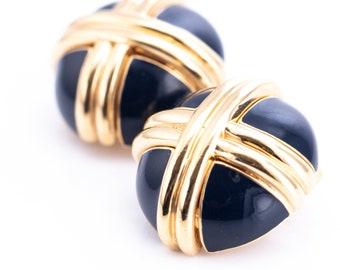 Vintage Ciner Gold Plated Cobalt Enamel Clip Earrings