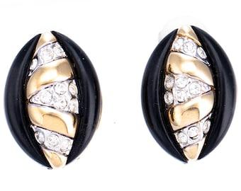 Vintage Nina Ricci Gold Plated Black Enamel Crystal Rhinestone Clip Earrings