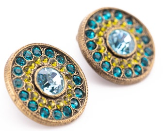 Vintage Poggi Paris Peridot and Sapphire Rhinestone Button Clip Earrings