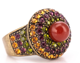 Vintage Heidi Daus Crystal Rhinestone and Carnelian Statement Cocktail Ring Size 7.75