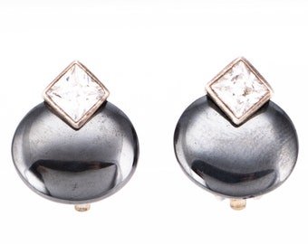 Vintage Carolee Sterling Silver Hematite and Crystal Rhinestone Clip Earrings