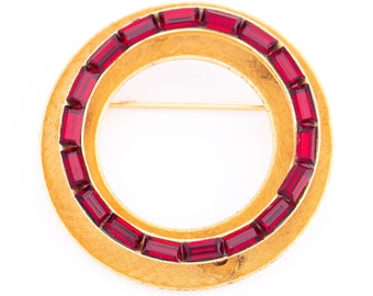Vintage Early Weiss Ruby Red Baguette Circle Brooch