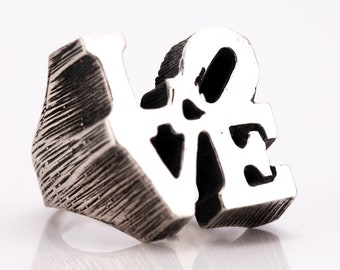 Vintage Robert Indiana LOVE Sterling Silver Statement Ring Size 5