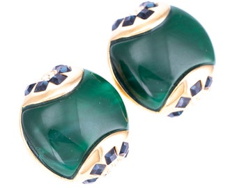 Vintage Art Deco 89 Gold Plated Sapphire and Crystal Rhinestone Faux Jade Clip Statement Earrings