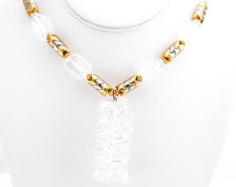 RARE Vintage Giorgio Sant'Angelo for Kramer Crystal and Gold/Silver Tone Plastic Beaded Statement Necklace