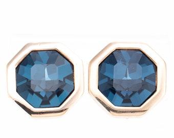 Vintage Swarovski S.A.L. Sapphire Rhinestone Statement Clip Earrings