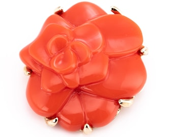 Vintage Replica Made in Italy Gold Plated Coral Resin Floral Brooch