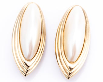 Vintage Givenchy Gold Plated Faux Pearl Clip Earrings