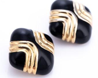 Vintage Ciner Gold Plated Black Enamel Clip Earrings