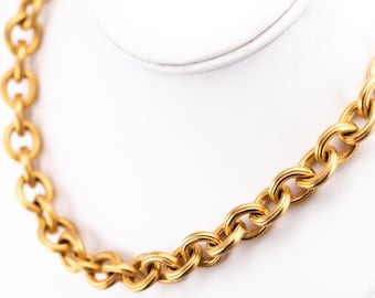 Vintage Anne Klein Heavy Gold Plate Rolo Chain Choker Necklace