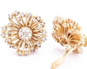 Vintage Ciner Gold Plated Crystal Rhinestone Starburst Clip Earrings