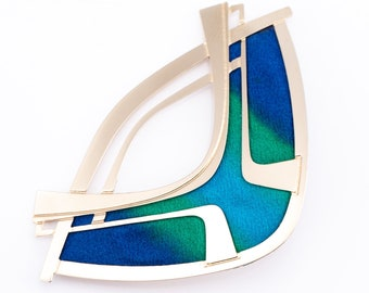 Vintage Kyle McKeown 14K Gold Plated Hand Painted Silk Modernist Brooch