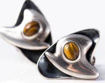 Vintage Sigi Pineda Sterling Silver and Tiger's Eye Modernist Earrings