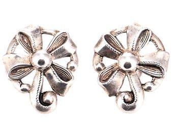 Vintage Sterling Silver Floral Screwback Earrings