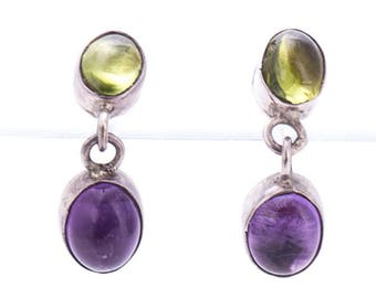 Vintage Navajo Jeanne & Felix Tsinijinnie Sterling Silver, Amethyst, and Peridot Earrings