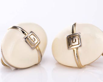 Vintage Givenchy Enamel and Goldtone Logo Clip Earrings