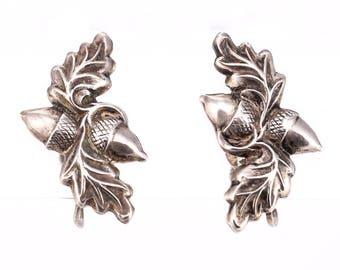 Vintage Sterling Silver Acorn Screwback Earrings