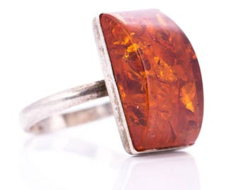 Vintage Sterling Silver and Amber Modernist Ring Size 6.25
