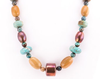 Vintage Jay King Desert Rose Trading Turquoise, Copper, and Agate Beaded Necklace