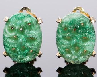 Vintage Hattie Carnegie Faux Jade Clip Earrings