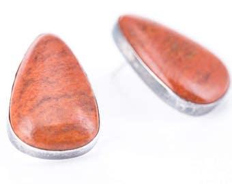 Vintage Sterling Silver Desert Rose Trading Orange Jasper Earrings