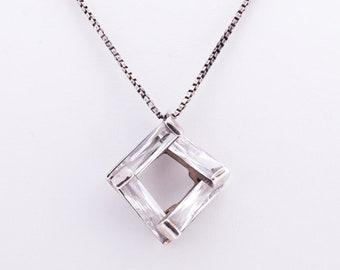Vintage Modernist Sterling Silver Crystal Pendant Necklace