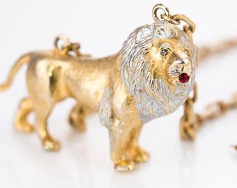 RARE Vintage Lucien Piccard Lion Runway Necklace