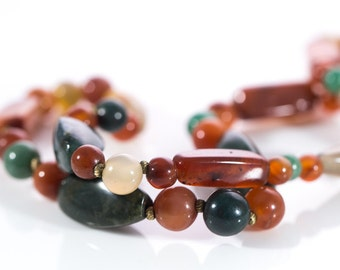 Vintage Beaded Agate Necklace