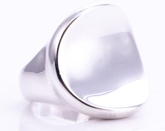 Vintage Robert Lee Morris Sterling Silver Chunky Concave Statement Ring Size 5.75