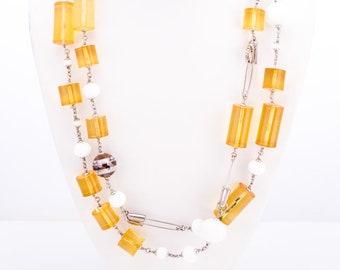 Vintage Henri Bendel Lucite, Crystal, and Safety Pin Opera Length Necklace
