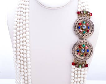 Vintage Gianni De Liguoro Milk Glass Multi-Strand Beaded Necklace with Rhinestone Statement Clasp