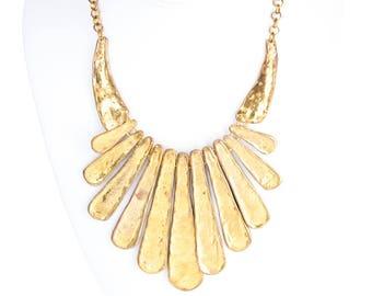 Vintage Egyptian Revival Goldtone Statement Necklace