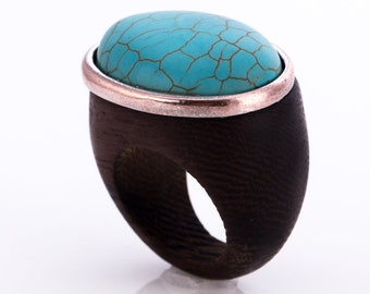 Vintage Modernist Mahogany and Turquoise Statement Ring